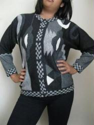 Intarsia Domino Sweater