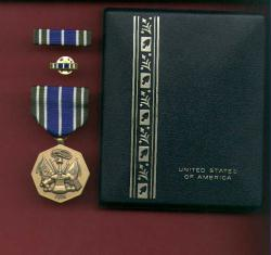 Army Achievement Award medal in case with ribbon bar and lapel pin