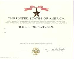 Genuine Army Bronze Star Medal Award Certificate