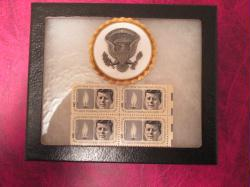 US White House Service Badge in display case with President Kennedy Memorial Stamps  Guaranteed Genuine