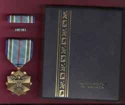 Joint Service Achievement Award Medal in case with ribbon bar and lapel pin