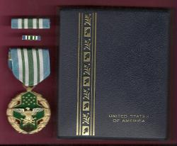 Joint Service Commendation Award Medal in case with ribbon bar and lapel pin