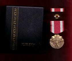 US Meritorious Service medal in case with ribbon bar and lapel pin