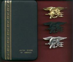 Set of Three Genuine Navy Seal Badges Tridents in case