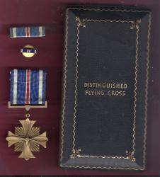 WWII Distinguished Flying Cross medal in old style case box with ribbon bar and lapel pin AAC DFC