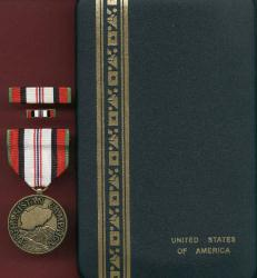 US Afghanistan Campaign medal with ribbon bar and lapel pin in case