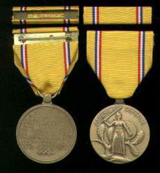 American Defense medal with ribbon bar