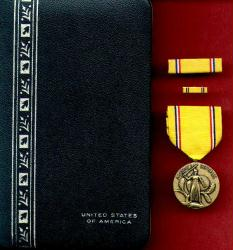 American Defense Medal in case with ribbon bar and lapel pin