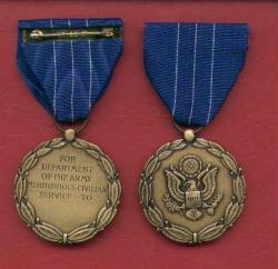 US Army Meritorious Civilian Service Award medal in case and lp