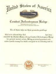 Army Combat Infantry Badge Certificate