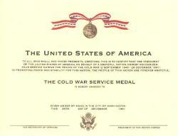 Cold War Service Medal Certificate