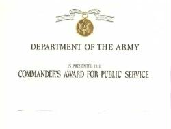 Army Commander's Award for Public Service Certificate