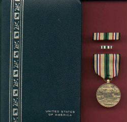 Desert Storm Shield Service Medal aka Southwest Asia Service medal in case with ribbon bar and lapel pin