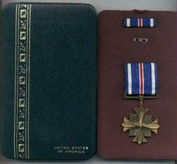 Distinguished Flying Cross in Case with ribbon bar and lapel pin