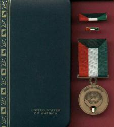 Kuwait Liberation medal complete cased set with ribbon bar and lapel pin