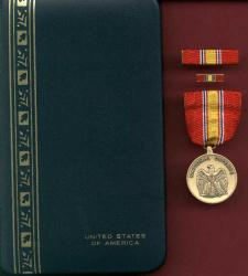 National Defense medal in case with ribbon bar and pin