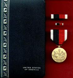 Marine Corps Occupation Service Medal in Case with ribbon bar and lp