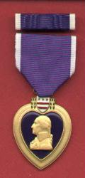 Purple Heart Military Award medal with ribbon bar