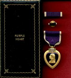 WWII Purple Heart Military Award medal in old style case with ribbon bar and lapel pin and serial numbered War Contract