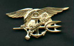 Gold Navy SEAL Badge  -Officers Rank