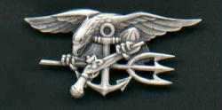 Silver Navy SEAL Badge Enlisted Rank  USA Made