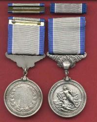 Silver Lifesaving medal with ribbon bar