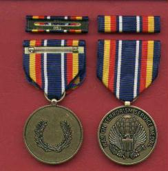 New War on Terrorism medal with ribbon bar