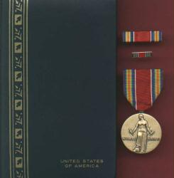 World War II Victory Military Award Medal in Case with ribbon bar and lapel pin