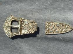 Large Brass Viking Belt Buckle and Tip Set
