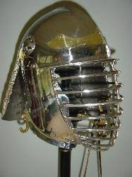 Stainless English Pot Helm shown with optional Brass Coronet