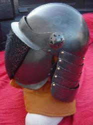 Stainless English Pot Helm (shown with optional blackening)