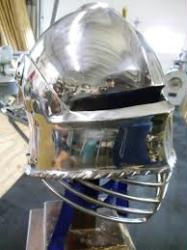 Stainless Solid Tail Salet with lifting solid Visor and pin lock.